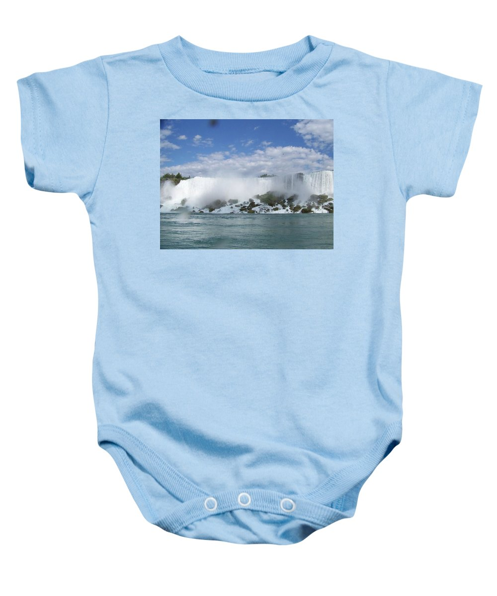 Waterfall Baby Onesie featuring the photograph The American Falls At Niagra by Laurie Paci