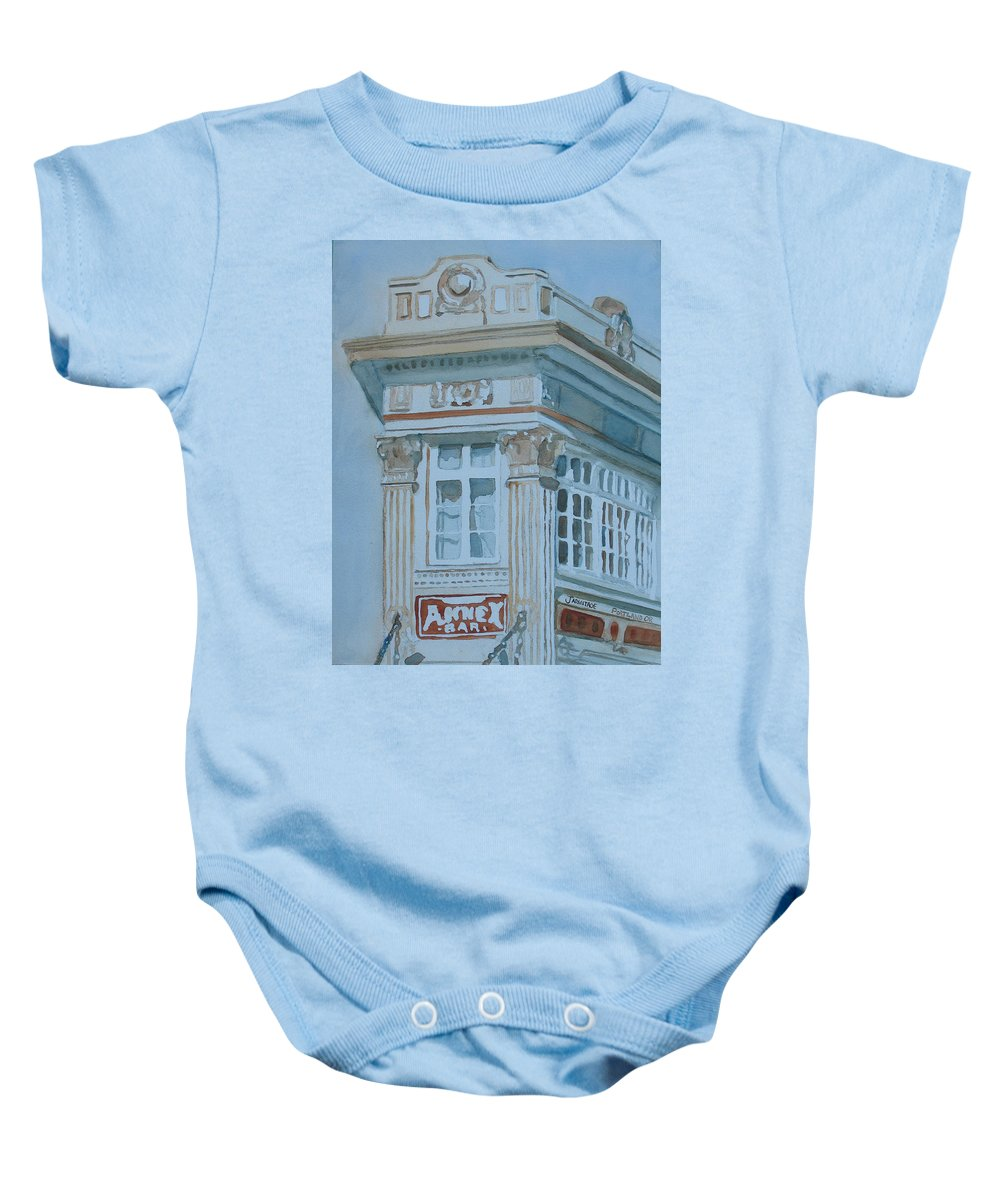 Bar Baby Onesie featuring the painting The Annex Bar by Jenny Armitage