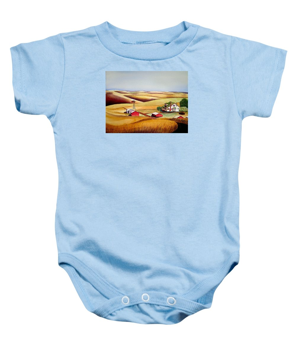 Landscape Baby Onesie featuring the painting The Aune Farm by Karen Stark