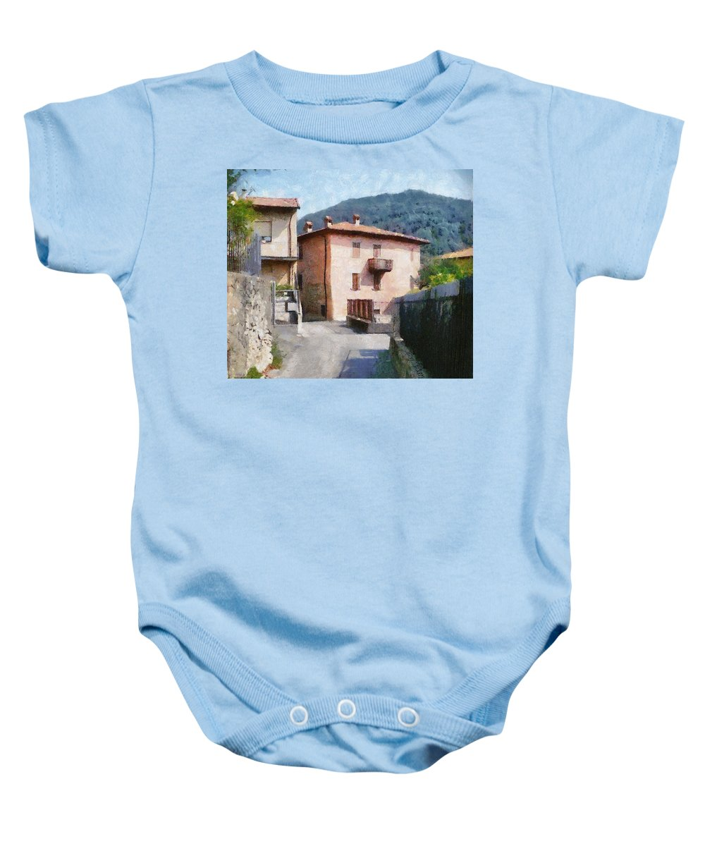 Alps Baby Onesie featuring the painting The Back Street Towards Home by Jeffrey Kolker