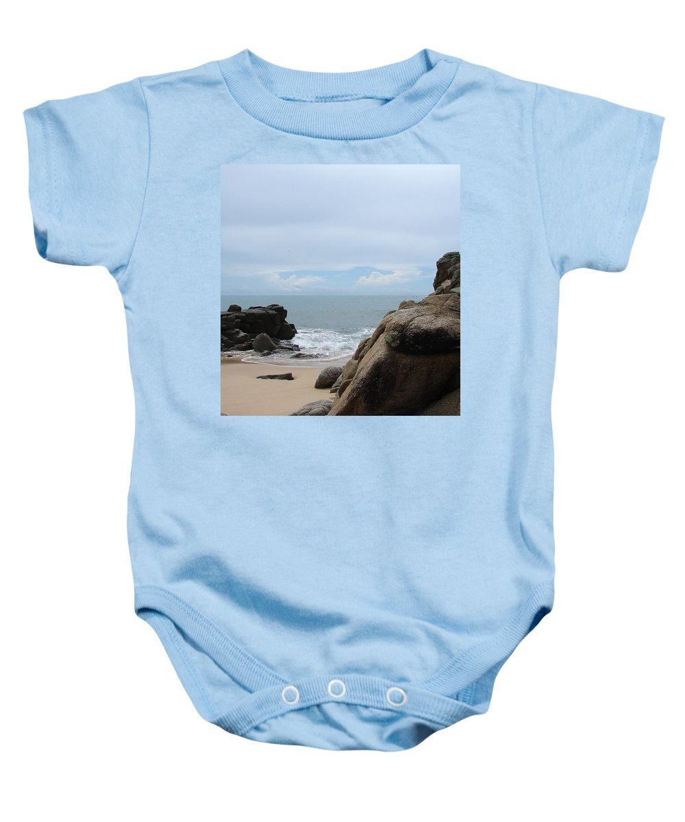Sand Ocean Clouds Blue Sky Rocks Baby Onesie featuring the photograph The Beach 2 by Luciana Seymour