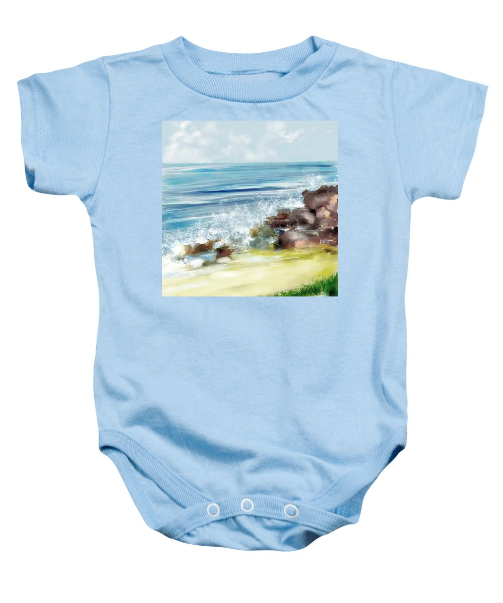 Beach Ocean Water Summer Waves Splash Baby Onesie featuring the digital art The Beach by Veronica Jackson