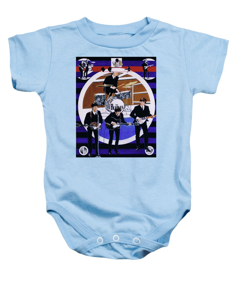 1960s Baby Onesie featuring the drawing The Beatles - Live On The Ed Sullivan Show by Sean Connolly