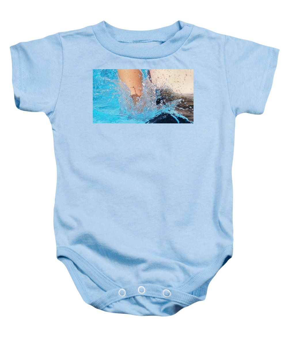 Digital Photography Baby Onesie featuring the photograph The Big Splash by Laurie Kidd