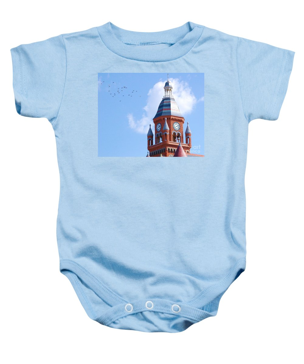 Clock Baby Onesie featuring the photograph The Birds by Debbi Granruth