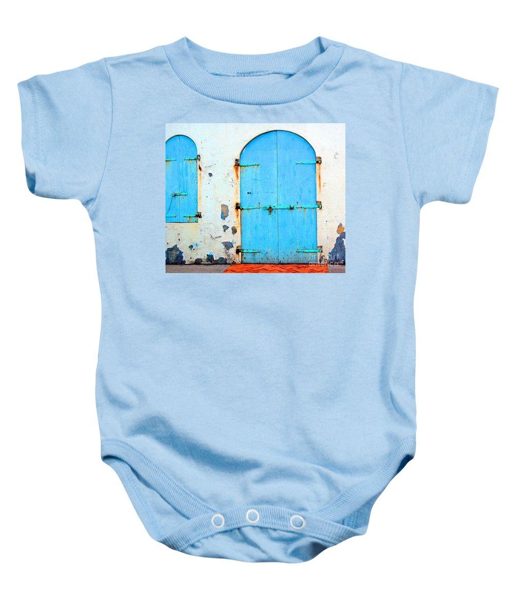 Door Baby Onesie featuring the photograph The Blue Door Shutters by Debbi Granruth