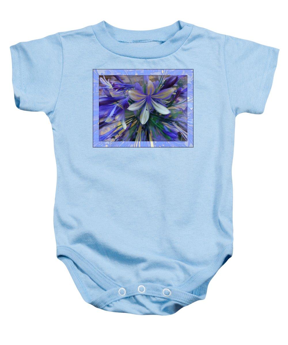 The Blue Flowers Of Melanie Baby Onesie featuring the photograph The Blue Flowers Of Melanie by Daniel Arrhakis