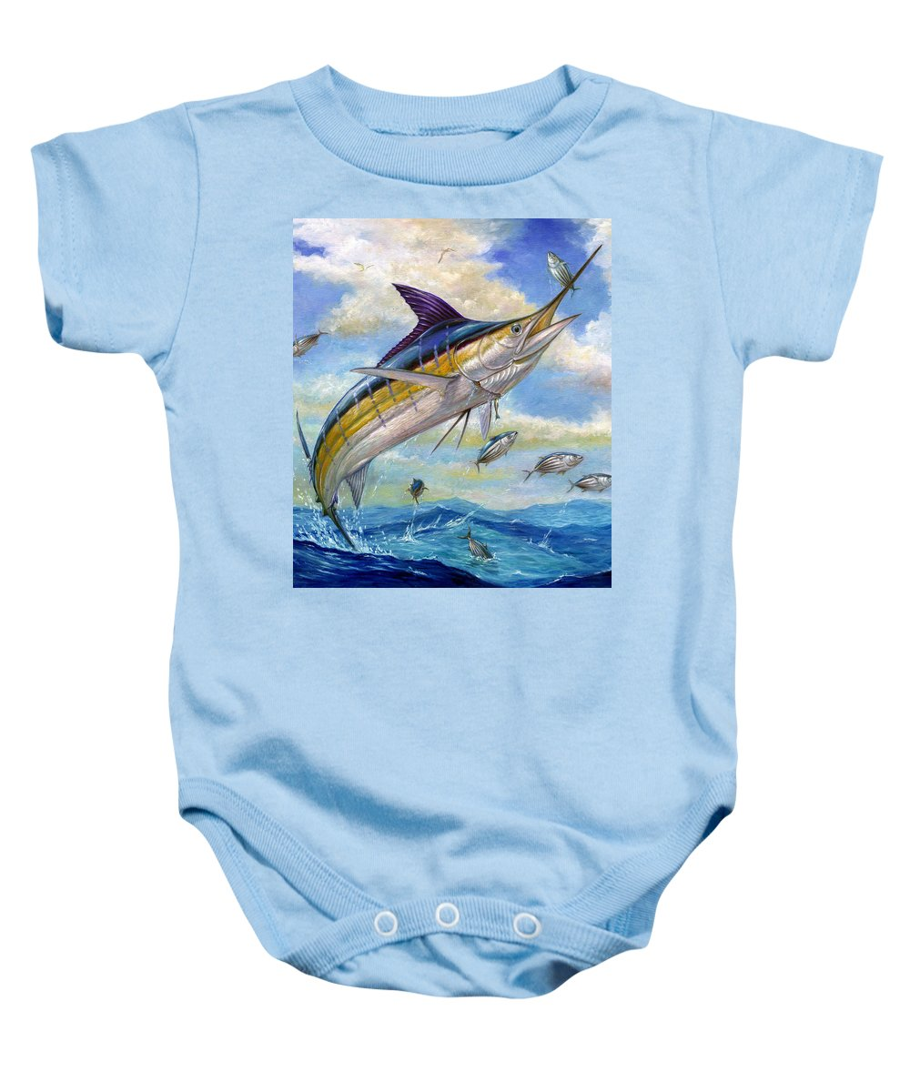 Blue Marlin Baby Onesie featuring the painting The Blue Marlin Leaping To Eat by Terry Fox