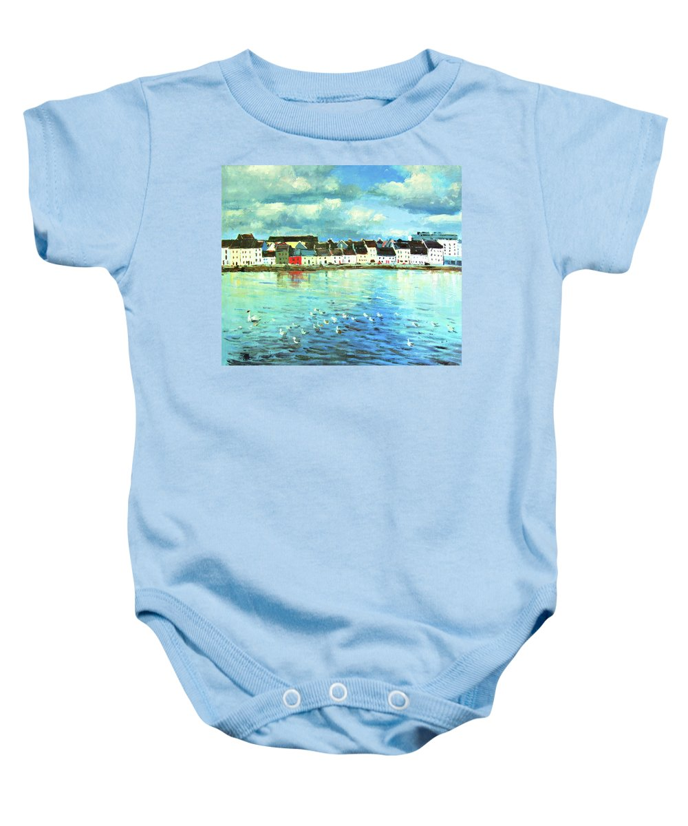 Claddagh Baby Onesie featuring the painting The Claddagh Galway by Conor McGuire