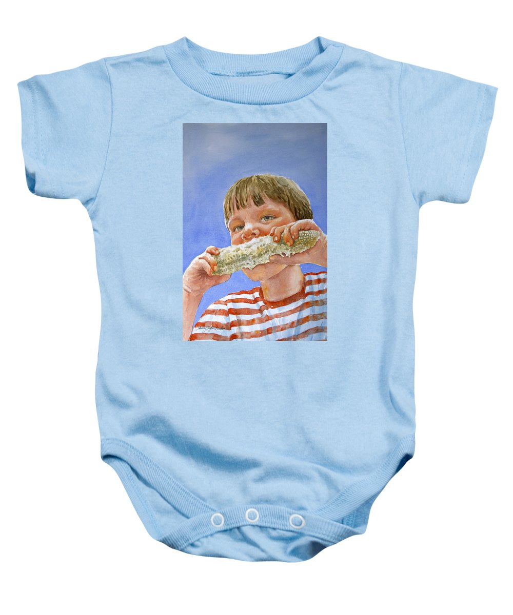 Corn Baby Onesie featuring the painting Andrew The Corn Eater by Shirley Sykes Bracken