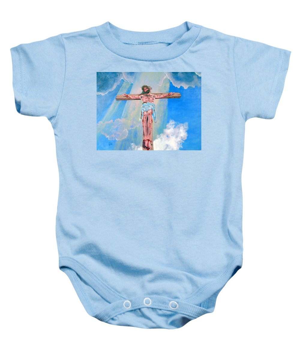 Christian Baby Onesie featuring the painting The Crucifixion Daytime by Stan Hamilton