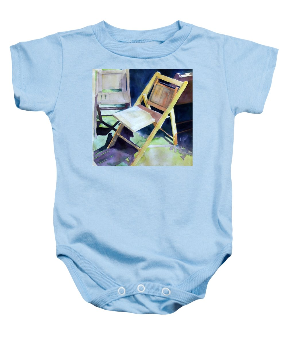 Folding Chairs Baby Onesie featuring the painting The Dance by Sheila Wedegis