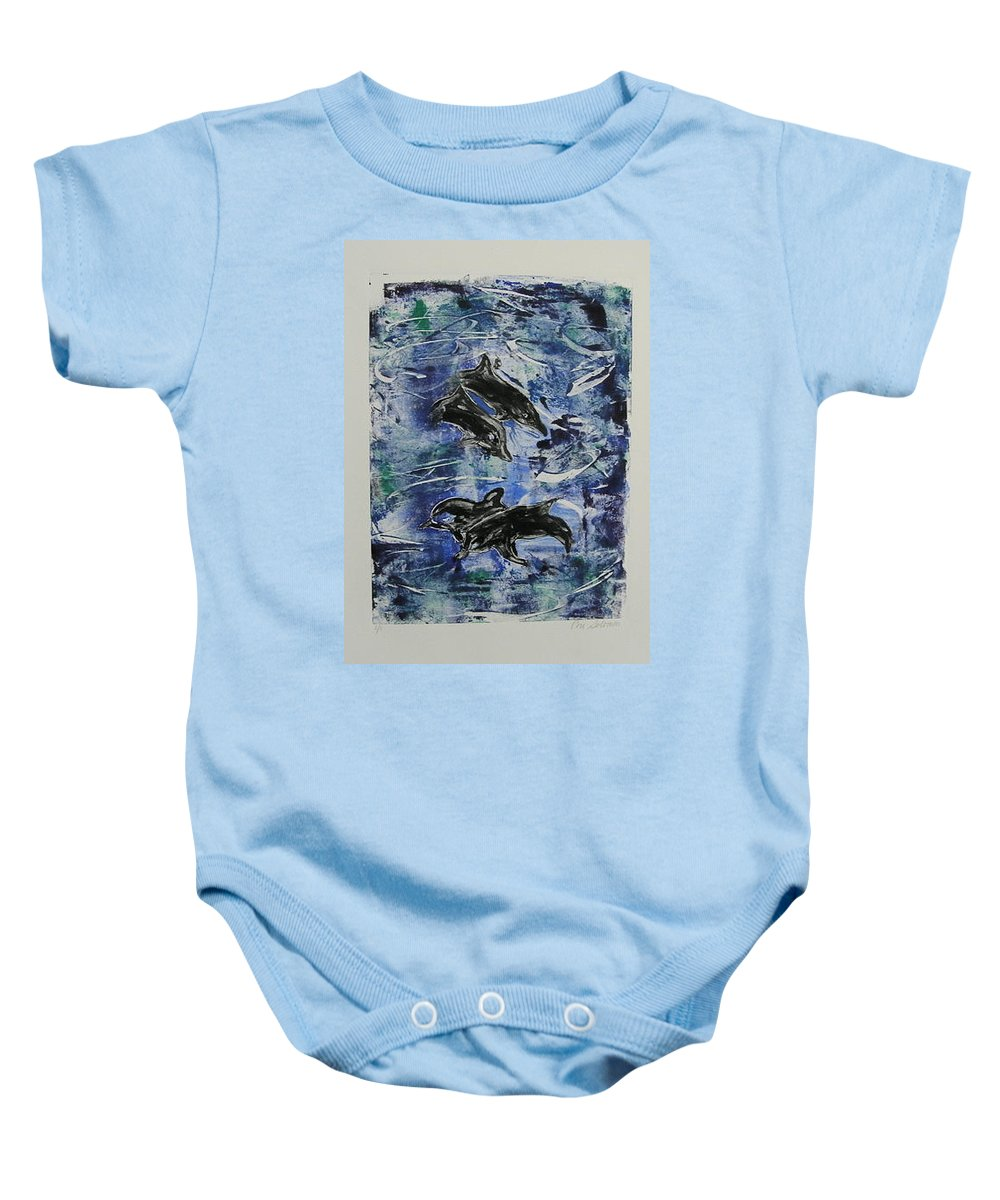 Monotype Baby Onesie featuring the mixed media The Deep Sea by Cori Solomon