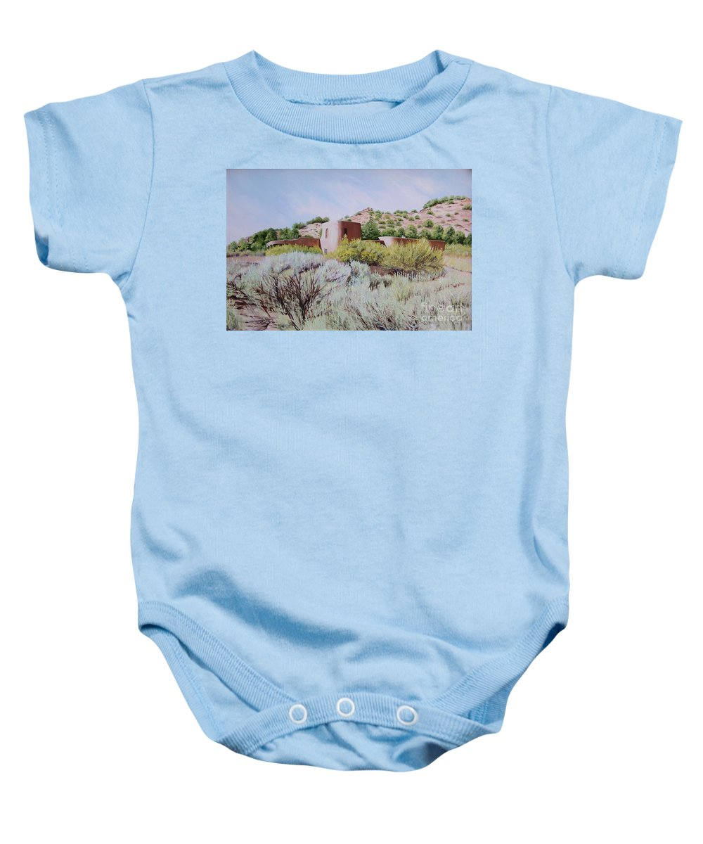 Usa Baby Onesie featuring the painting The Dixon House by Mary Rogers