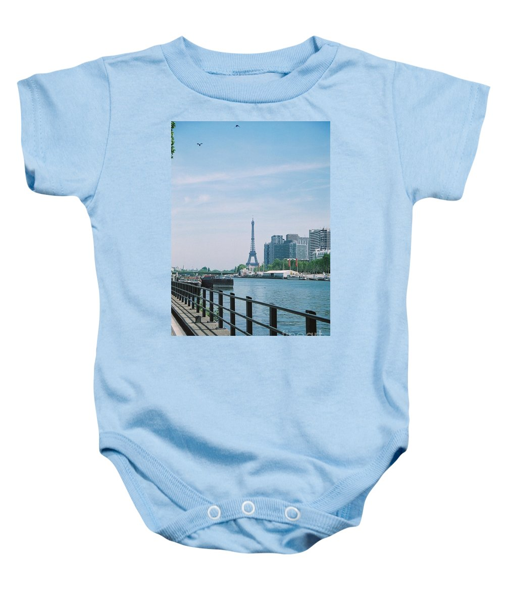 The Eiffel Tower Baby Onesie featuring the photograph The Eiffel Tower And The Seine River by Nadine Rippelmeyer