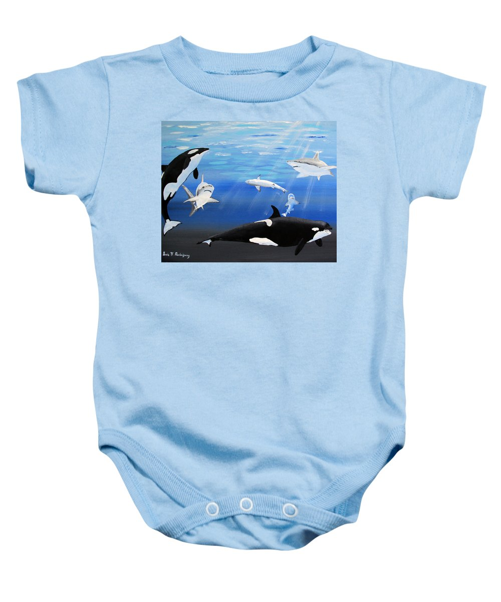 Killer Whales Baby Onesie featuring the painting The Encounter by Luis F Rodriguez