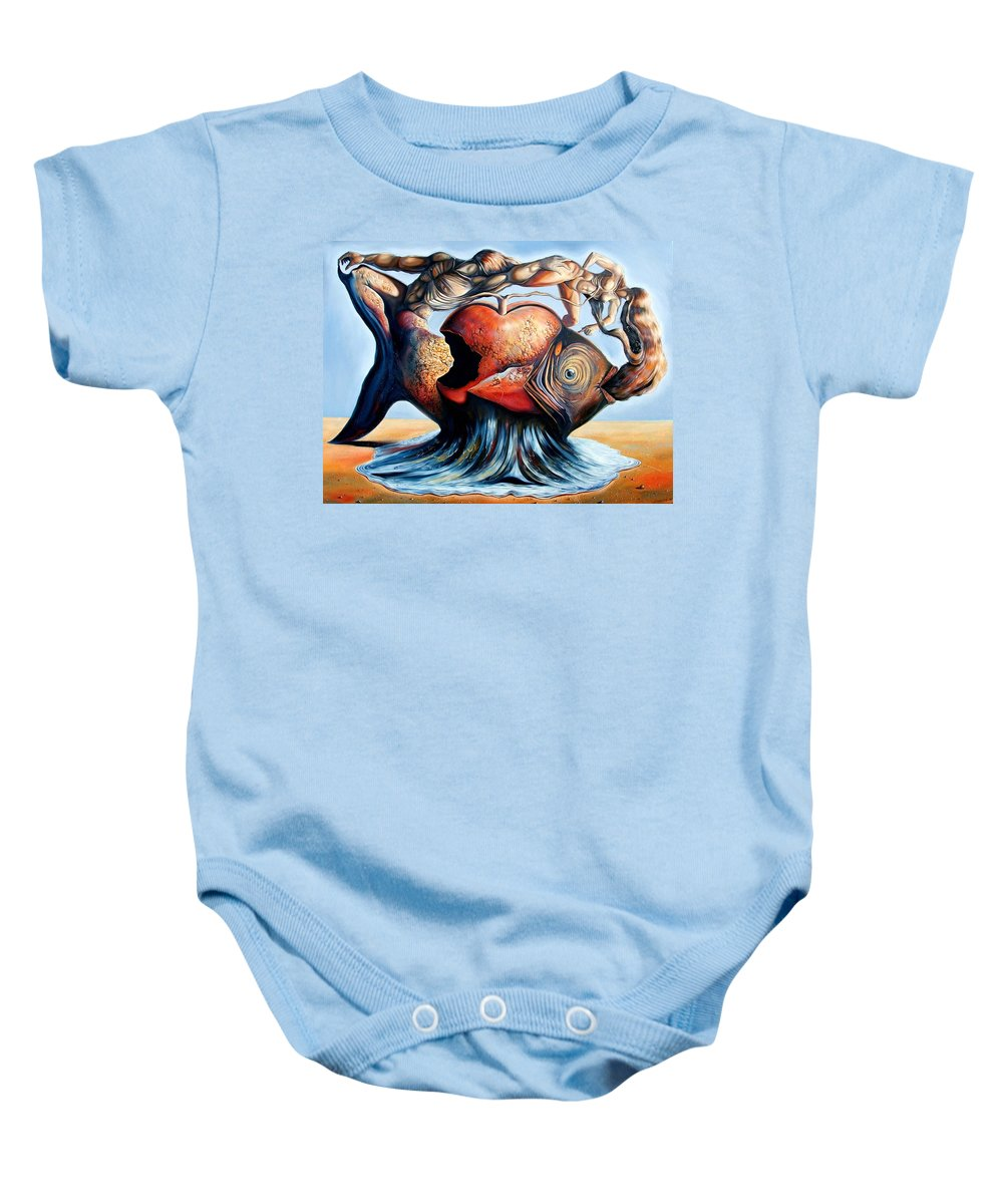 Surrealism Baby Onesie featuring the painting The Eternal Question Of Time by Darwin Leon