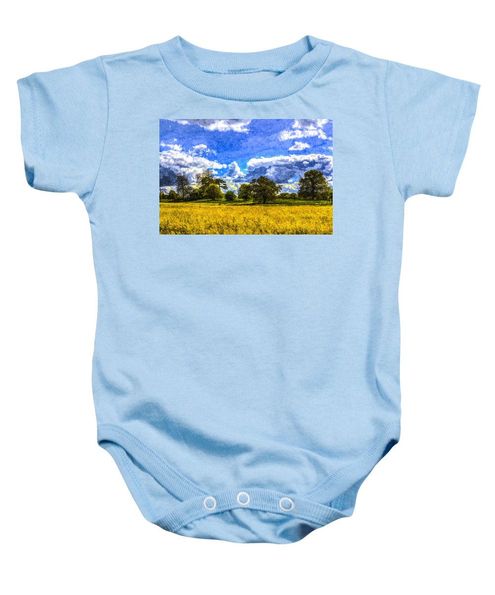 Watercolor Baby Onesie featuring the photograph The Farm Art by David Pyatt