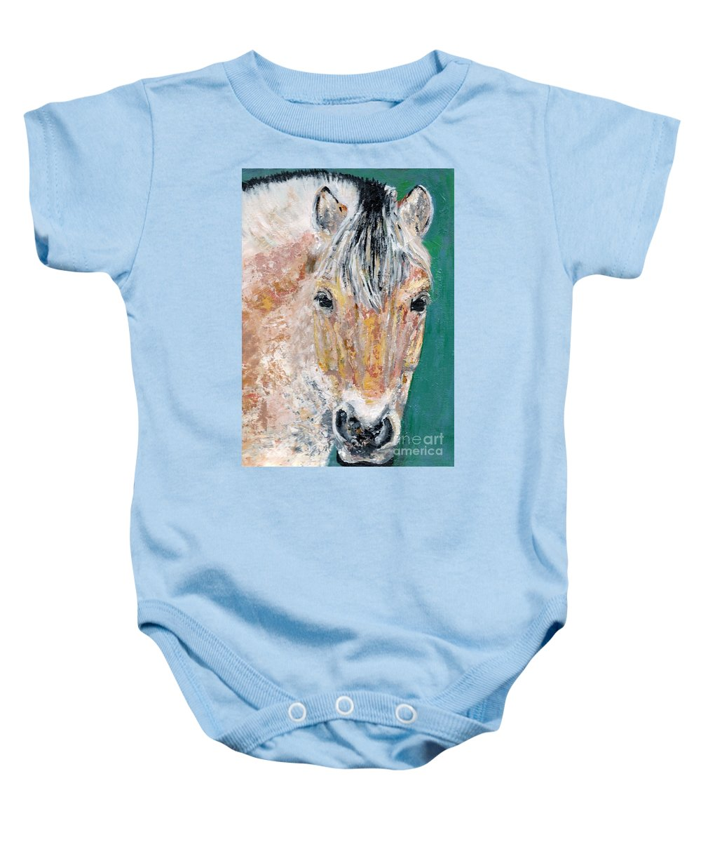 Fijord Horse Baby Onesie featuring the painting The Fijord by Frances Marino