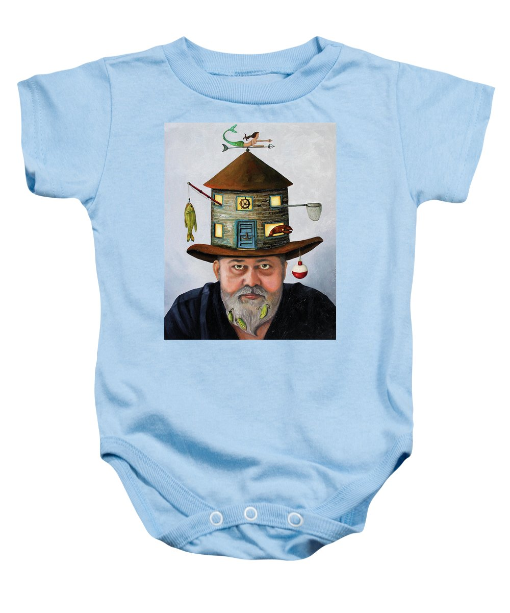 Fish Baby Onesie featuring the painting The Fisherman by Leah Saulnier The Painting Maniac