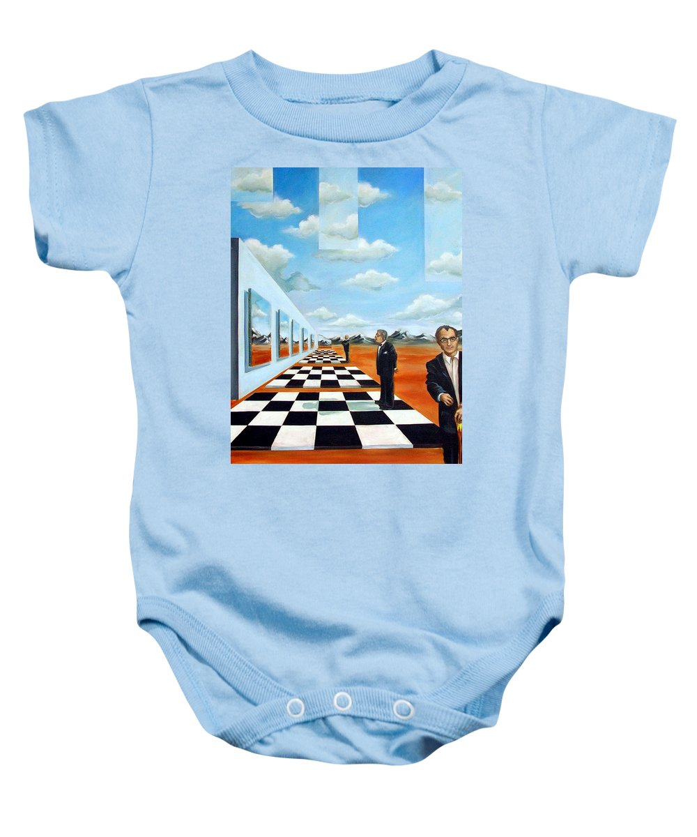 Surreal Baby Onesie featuring the painting The Gallery by Valerie Vescovi