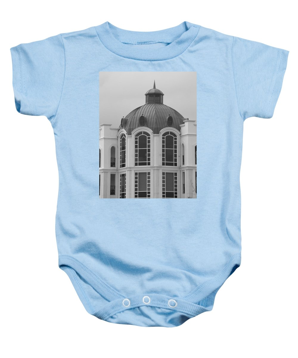 Black And White Baby Onesie featuring the photograph The Glass And Brass Tower by Rob Hans