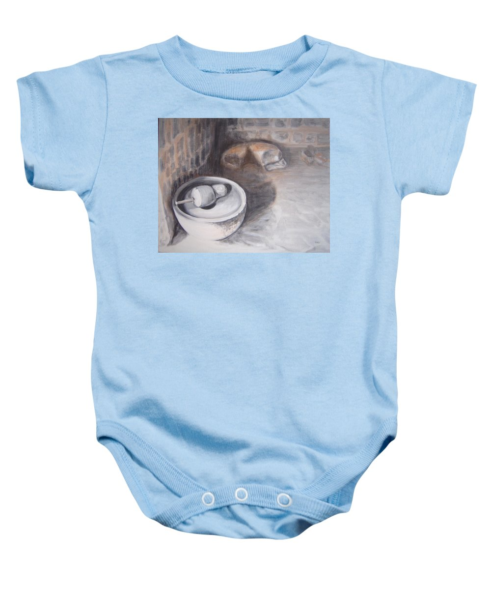 Grinding Baby Onesie featuring the painting The Grinding Stone by Usha Shantharam
