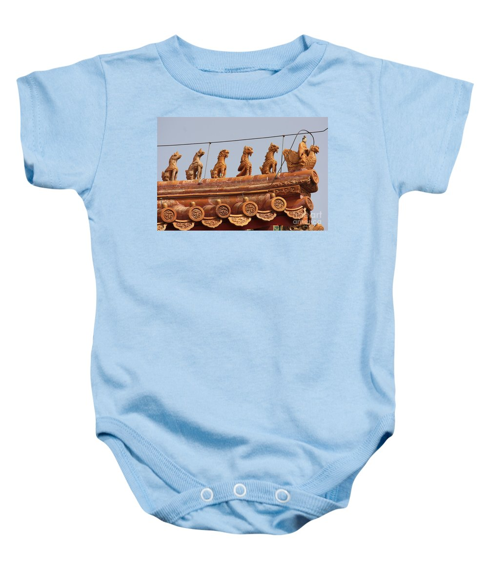 Guard Baby Onesie featuring the photograph The Guardians Of The Forbidden City by Carol Groenen