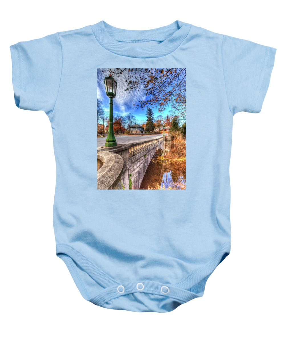Haunted New York Baby Onesie featuring the photograph The Headless Horseman Bridge by David Pyatt