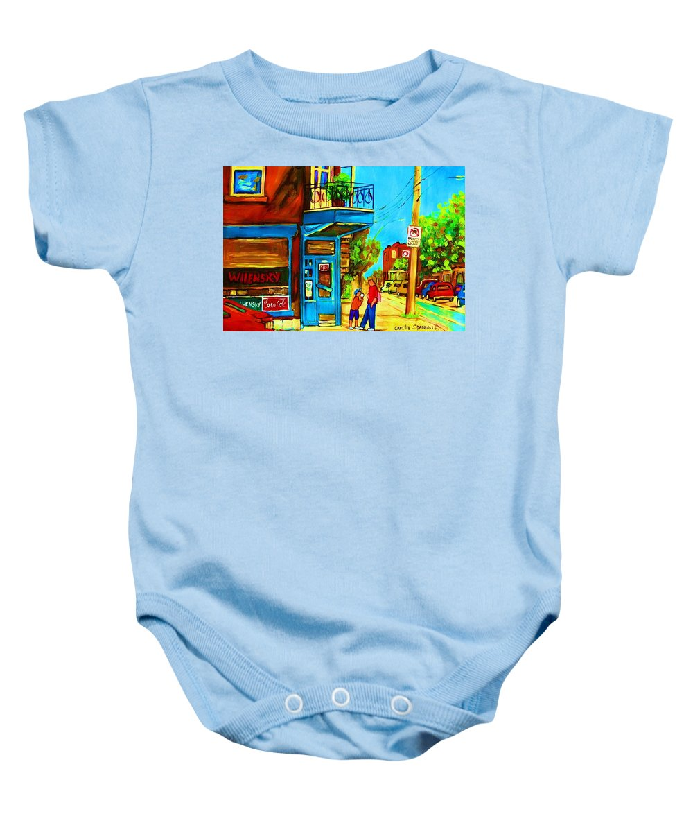 Wilenskys Deli Baby Onesie featuring the painting The Icecream Cone by Carole Spandau