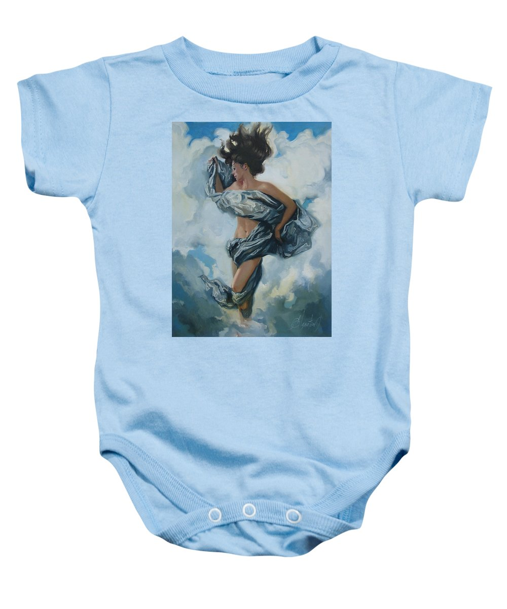 Oil Baby Onesie featuring the painting The Illusion by Sergey Ignatenko