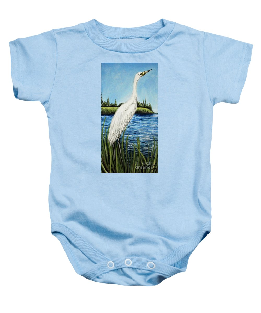 Landscape Baby Onesie featuring the painting The Island's Egret by Elizabeth Robinette Tyndall