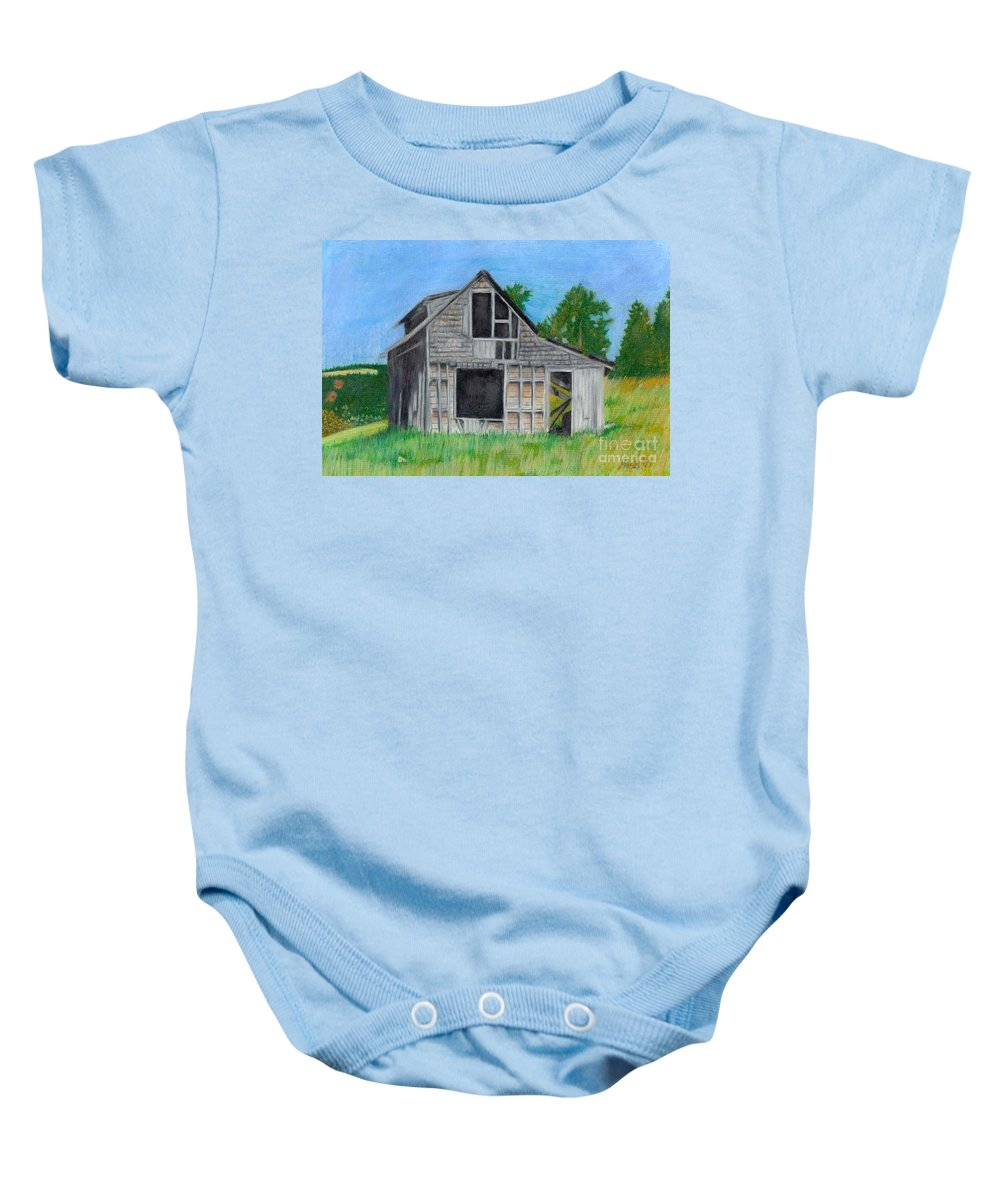 Nature Baby Onesie featuring the pastel The Last Stage Stop by Mendy Pedersen