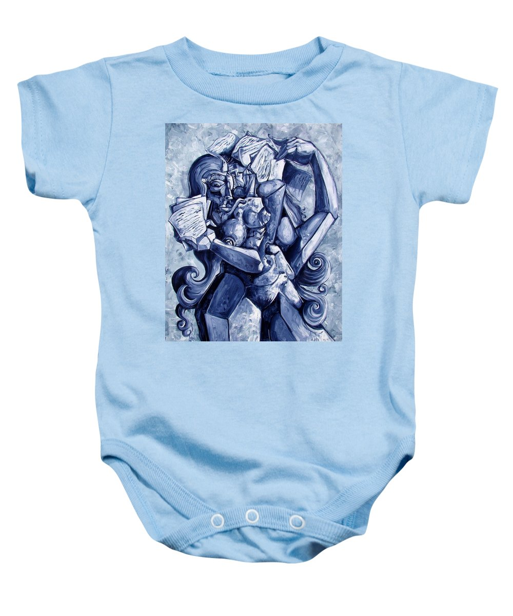 Surrealism Baby Onesie featuring the painting The Letters by Darwin Leon