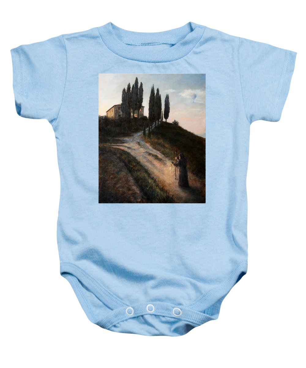 Tree Baby Onesie featuring the painting The Light of a New Dawn by Darko Topalski