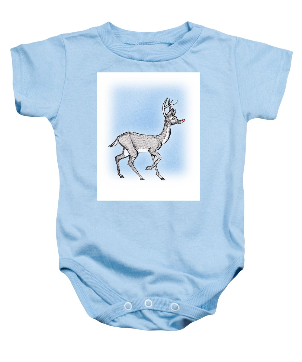 Pen And Ink Baby Onesie featuring the drawing The Little Reindeer by Keith A Link