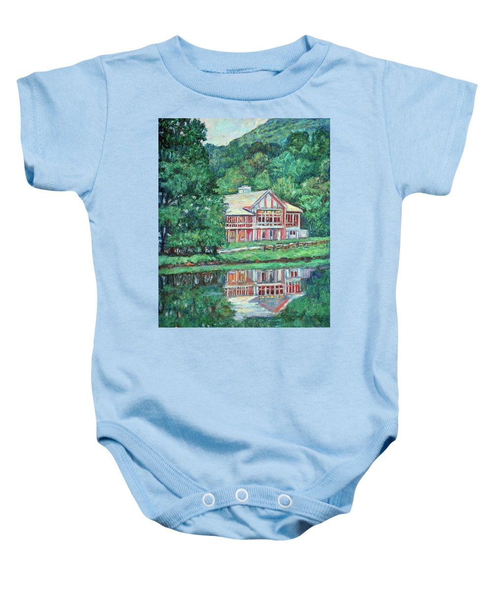 Lodge Paintings Baby Onesie featuring the painting The Lodge At Peaks Of Otter by Kendall Kessler