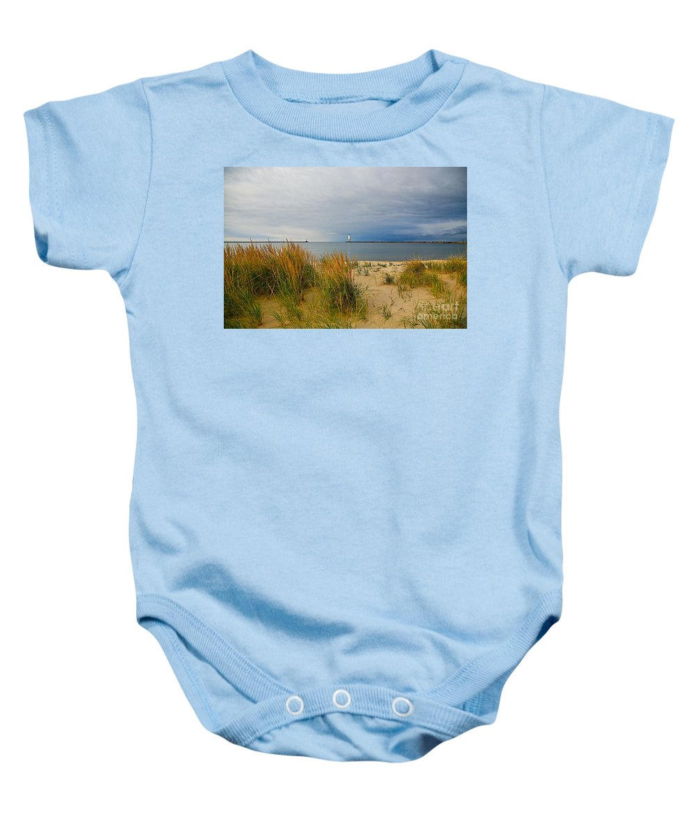 Landscape Baby Onesie featuring the photograph The Lonely Beach by Robert Pearson