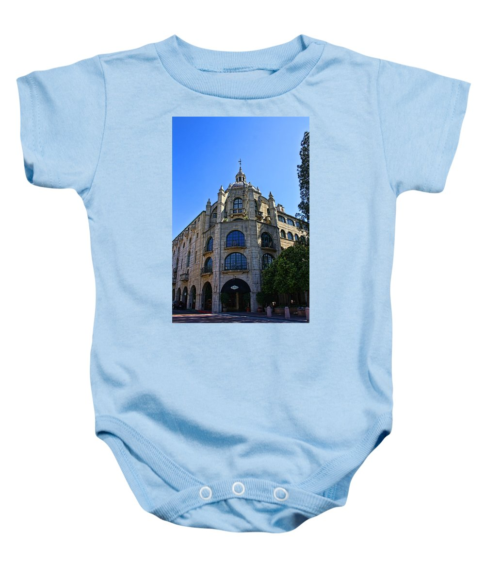 Mission Inn Baby Onesie featuring the photograph The Mission Inn Tower by Tommy Anderson