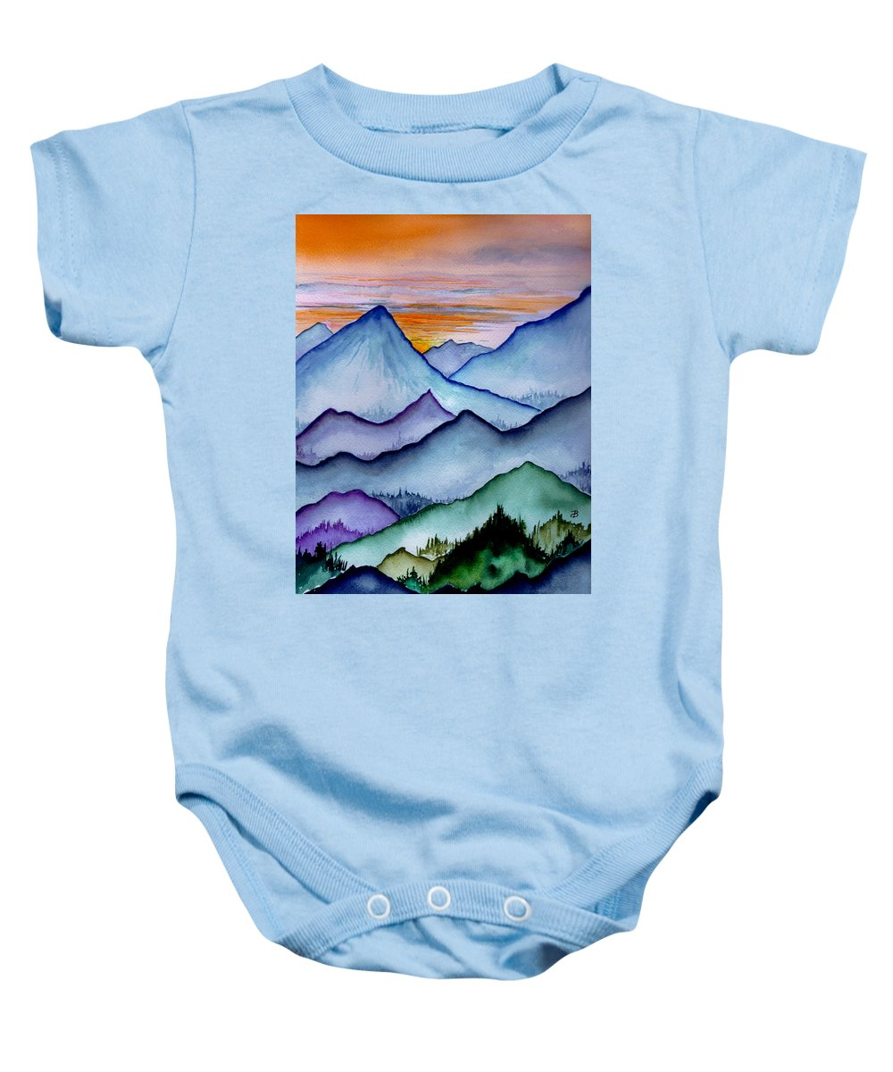 Landscape Baby Onesie featuring the painting The Misty Mountains by Brenda Owen