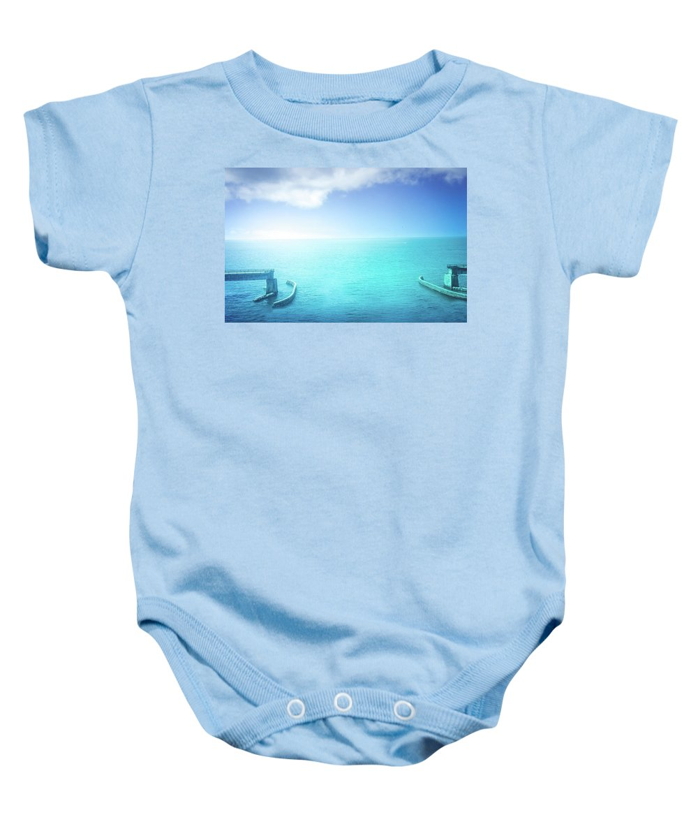Old Draw Bridge Baby Onesie featuring the photograph The Old Draw Bridge by Art Spectrum