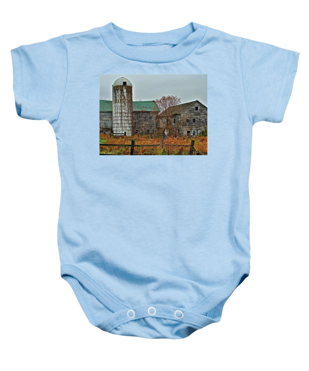 Rural Baby Onesie featuring the photograph The Old Farm by Diana Hatcher