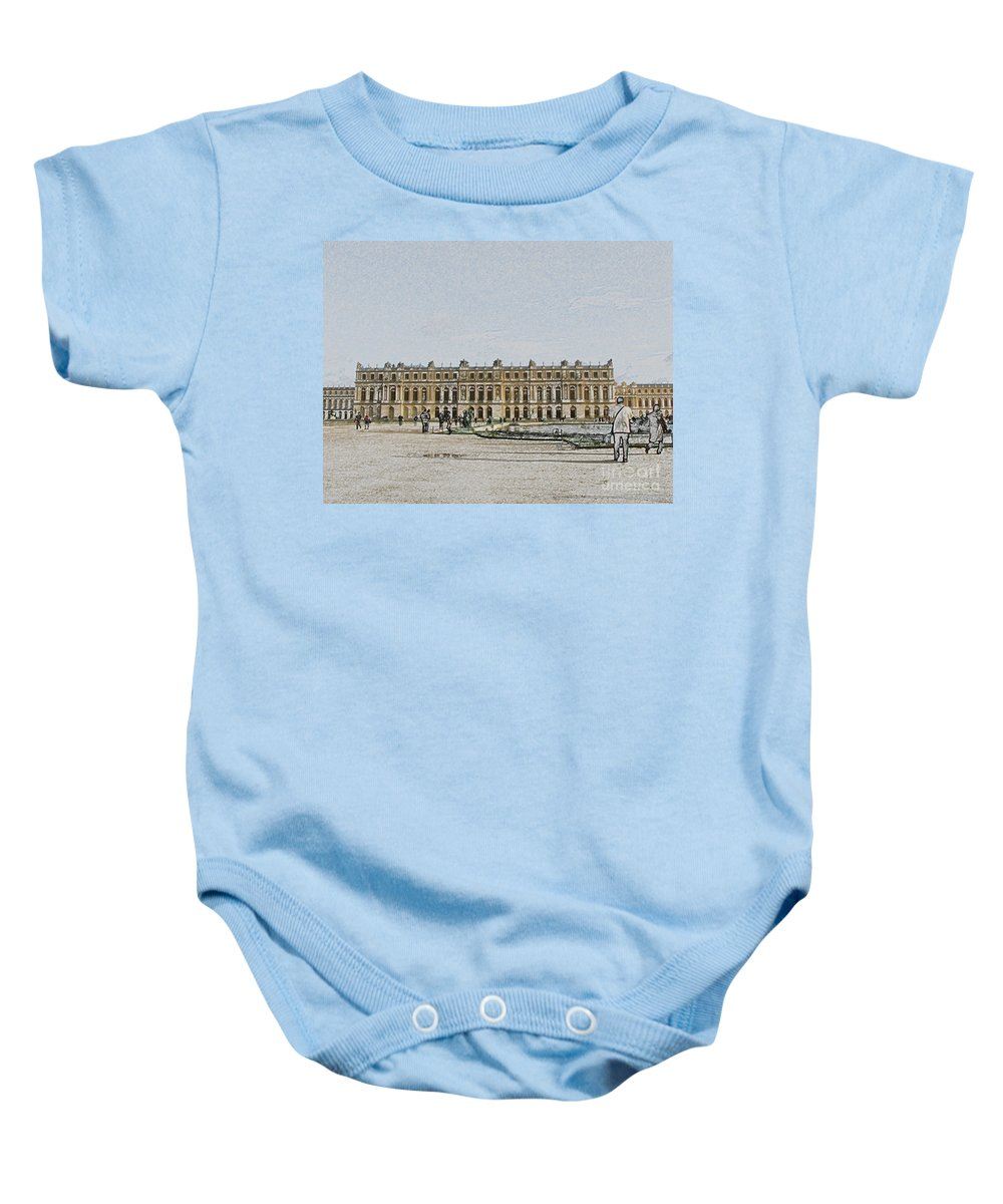Palace Baby Onesie featuring the photograph The Palace Of Versailles by Amanda Barcon