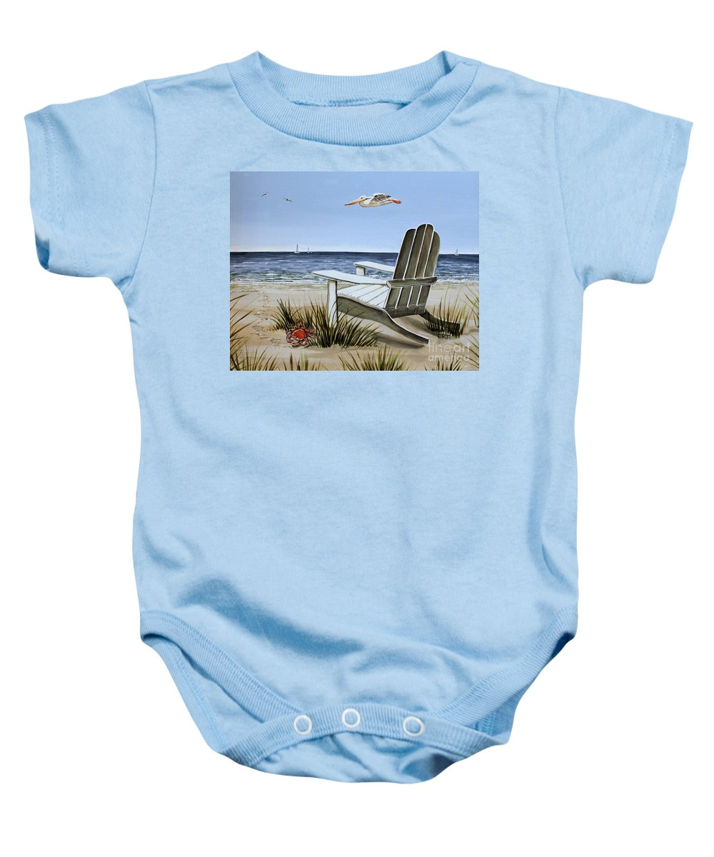 Landscape Baby Onesie featuring the painting The Pelican by Elizabeth Robinette Tyndall