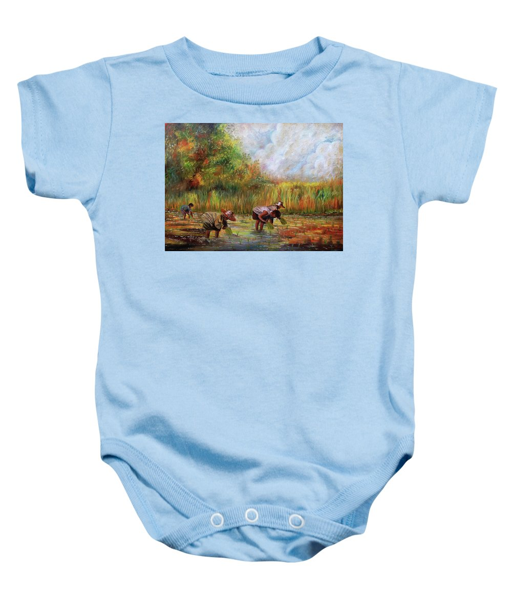 Rice Baby Onesie featuring the painting The Planting by Arnildo Danga