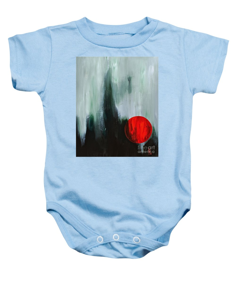 Abstract By Herschel Fall Red And Green Baby Onesie featuring the painting The Point Is by Herschel Fall