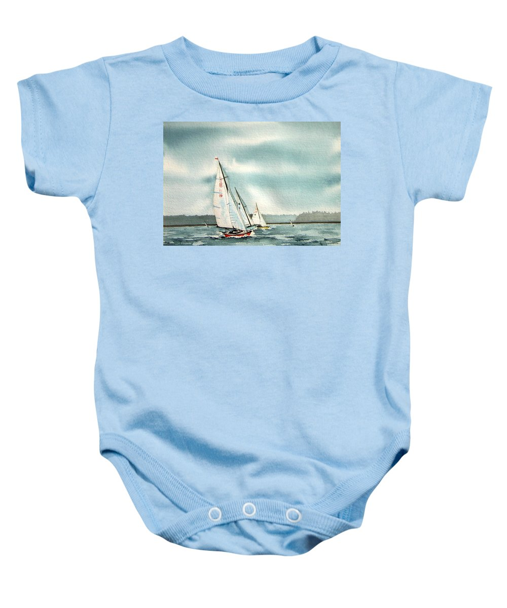 Sailing Baby Onesie featuring the painting The Race by Gale Cochran-Smith