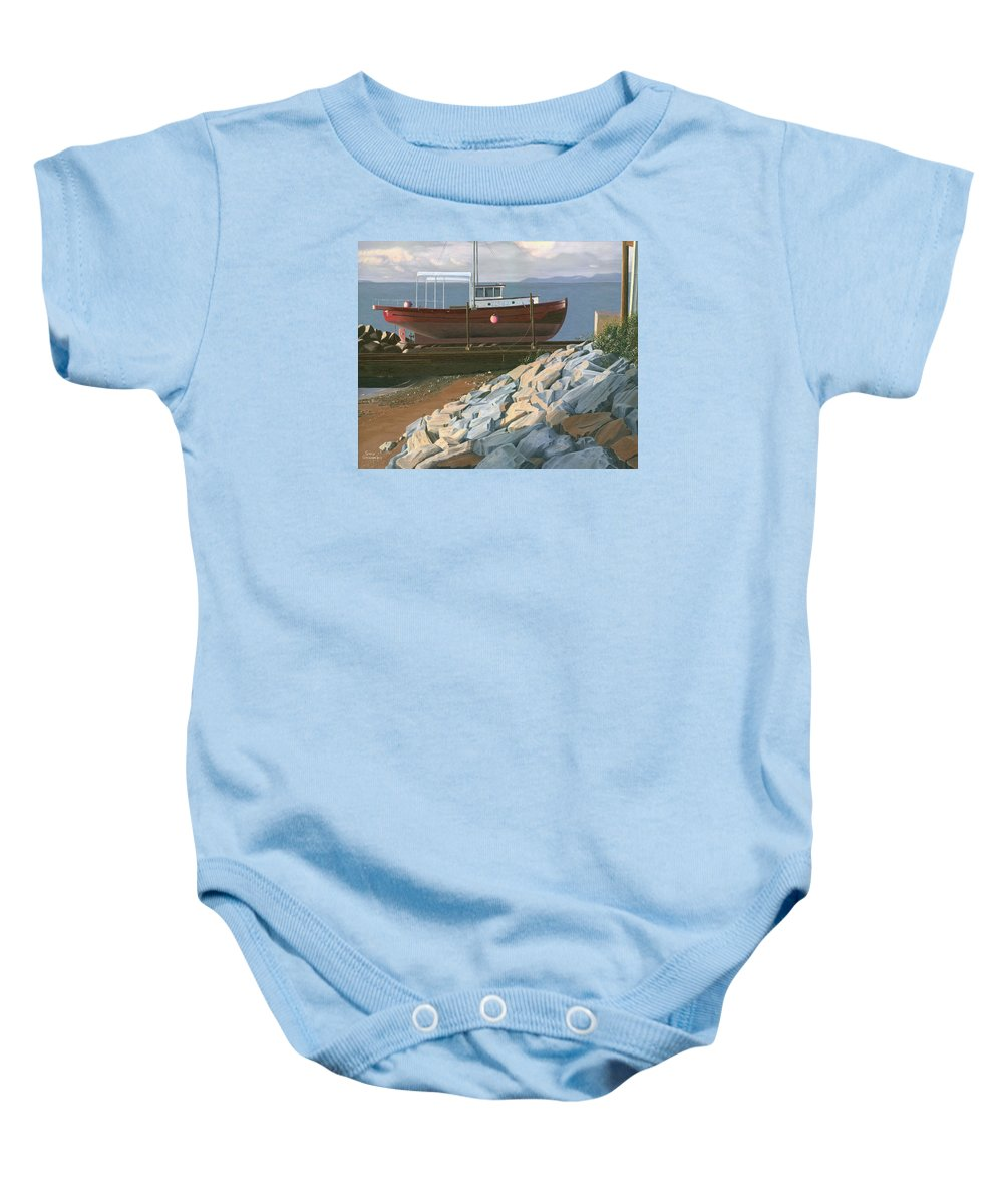 Ship Baby Onesie featuring the painting The Red Troller Revisited by Gary Giacomelli