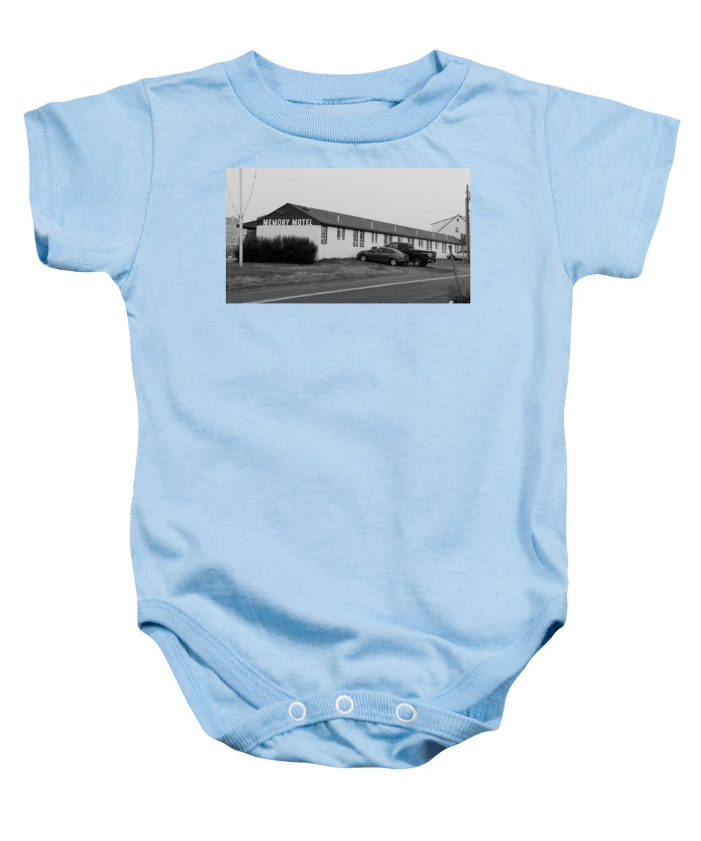 The Rolling Stones Baby Onesie featuring the photograph The Rolling Stones' Memory Motel Montauk New York by Rob Hans