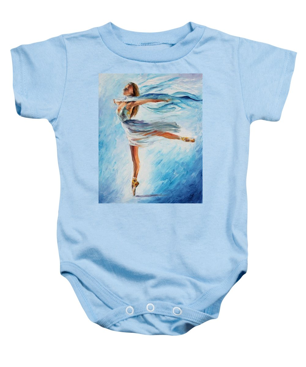 Afremov Baby Onesie featuring the painting The Sky Dance by Leonid Afremov